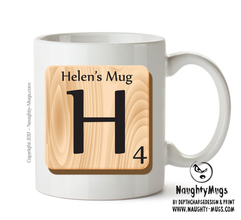 "Initial ""H"" Your Name Scrabble Mug FUNNY Gift Office Mug Funny Humour"