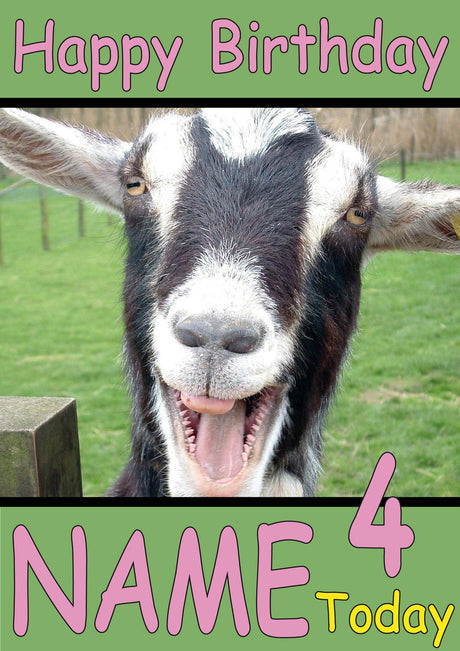 Happy Goat Funny Kids Adult Personalised Birthday Card Gift Present