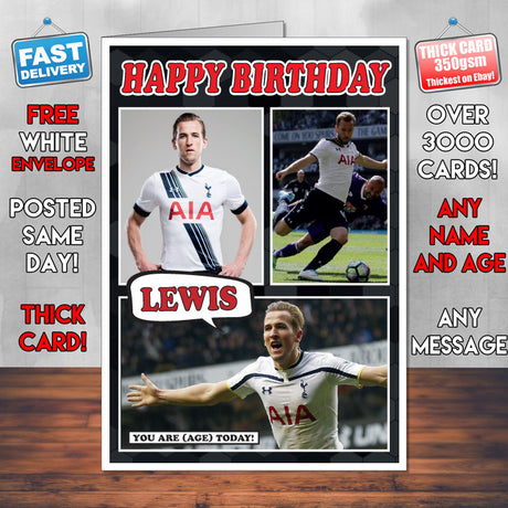 Harry Kane Spurs Inspired Style Personalised Football Card New 2017