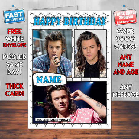 Harry Styles Personalised Celebrity Birthday Card New 2017