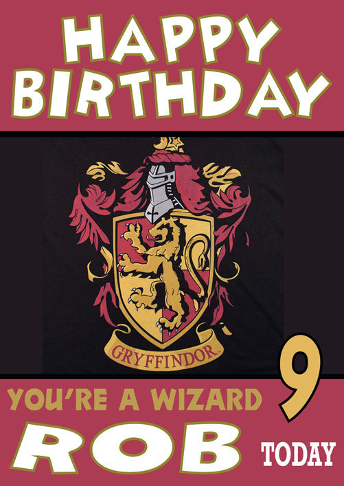 5064314a Harry Potter Gryffindor House THEME INSPIRED Kids Adult Personalised  Birthday Card