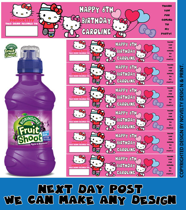 Hello Kitty Label Inspired Theme Personalised Party Fruit Shoot Sticker