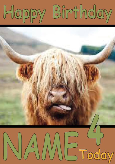 Highland Cow Funny Kids Adult Personalised Birthday Card Gift Present