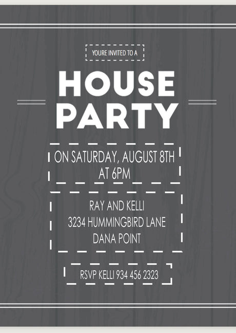 10 X Personalised Printed House Party INSPIRED STYLE Invites