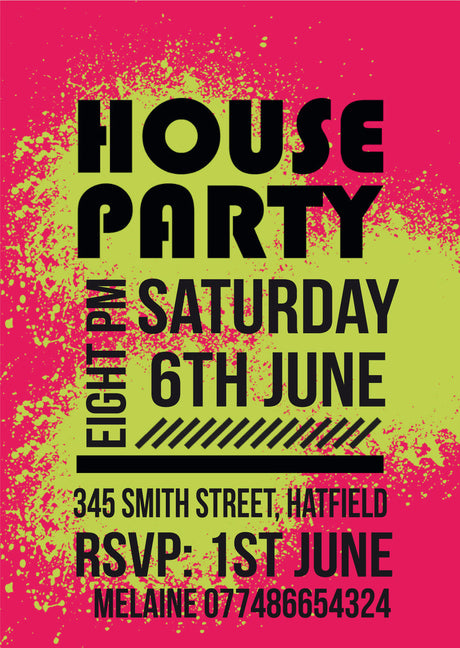 10 X Personalised Printed House Party 2 INSPIRED STYLE Invites