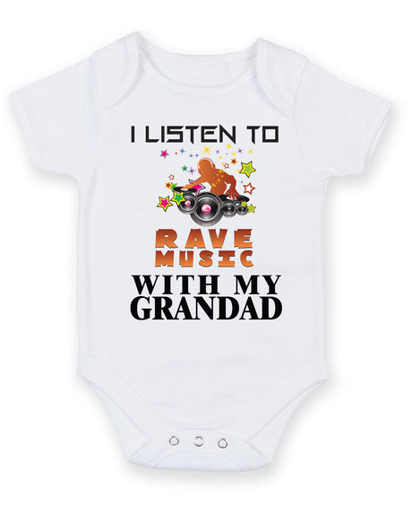 I Listen to Rave Music With My Grandad Baby Grow Bodysuit