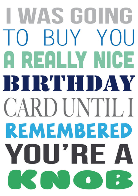 I Was Going To Buy.... But You're A Knob Personalised Birthday Card