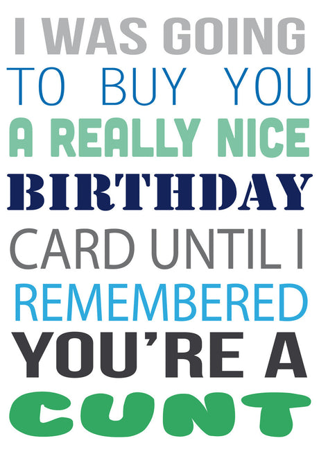 I Was Going To Buy.... But You're A Cunt Personalised Birthday Card