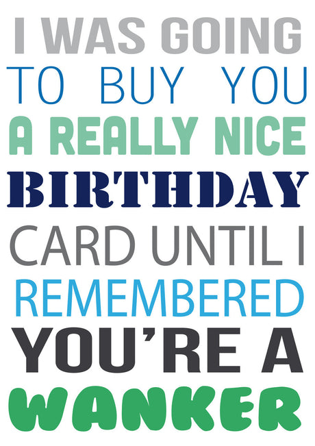 I Was Going To Buy.... But You're A Wanker Personalised Birthday Card