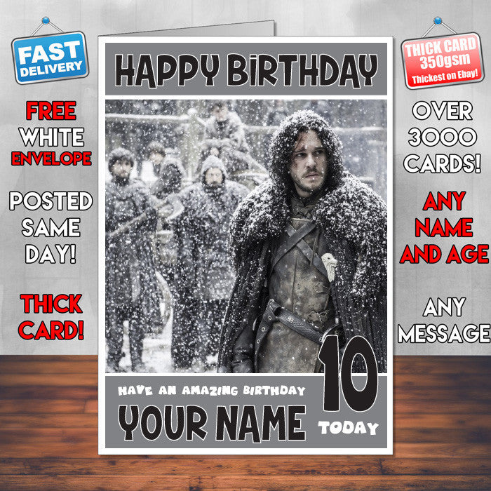 John Snow Card Sj Theme Inspired Style Personalised Kids Adult Funny