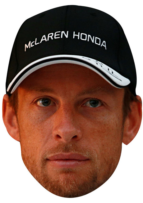 JENSON BUTTON CAP JB - Formula 1 Driver Fancy Dress Cardboard Celebrity Party Stag Birthday Idea Fancy Dress Face mask