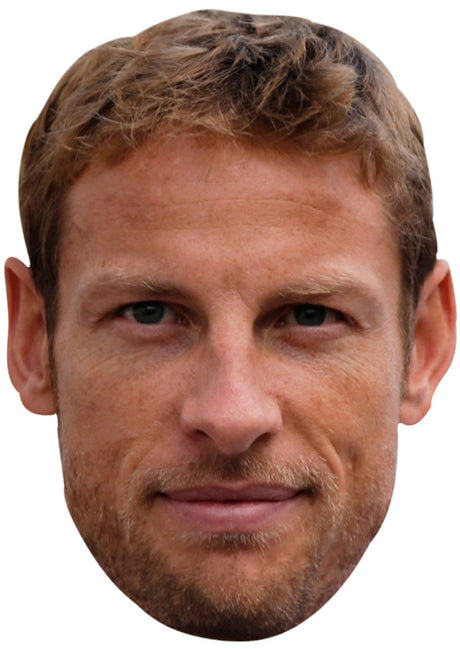 JENSON BUTTON JB - Formula 1 Driver Fancy Dress Cardboard Celebrity Party Stag Birthday Idea Fancy Dress Face mask