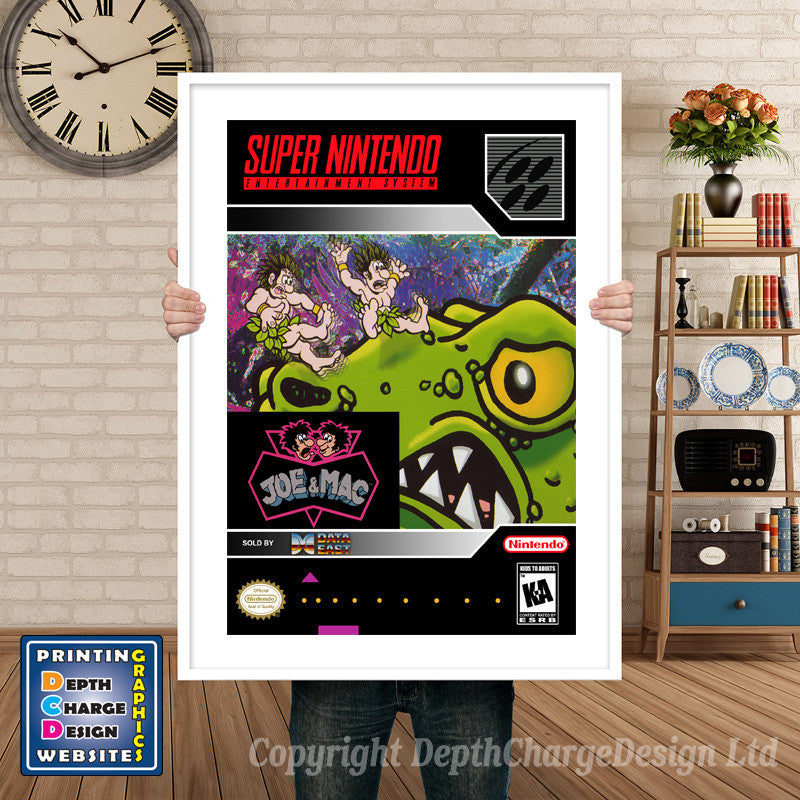 Joe And Mac Super Nintendo GAME INSPIRED THEME Retro Gaming Poster A4 A3 A2  Or A1