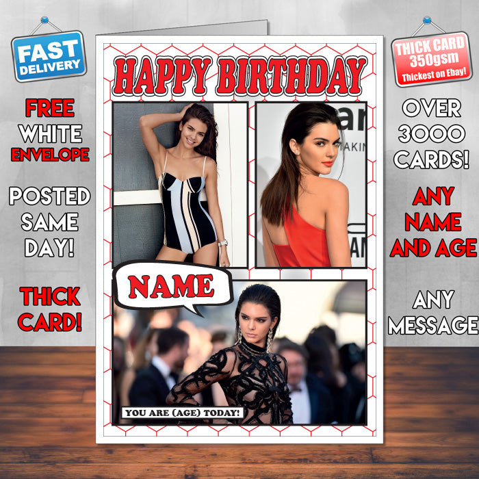 Kendall Jenner Personalised Celebrity Birthday Card New 2017