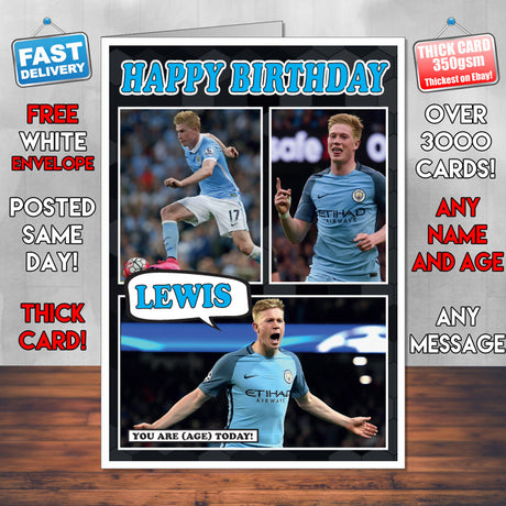 Kevin De Bruyne Man City Inspired Style Personalised Football Card New 2017