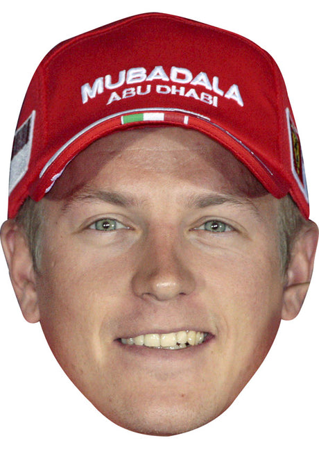 KIMI RAIKKONEN MUBADALA CAP JB - Formula 1 Driver Fancy Dress Cardboard Celebrity Party Stag Birthday Idea Fancy Dress Face mask