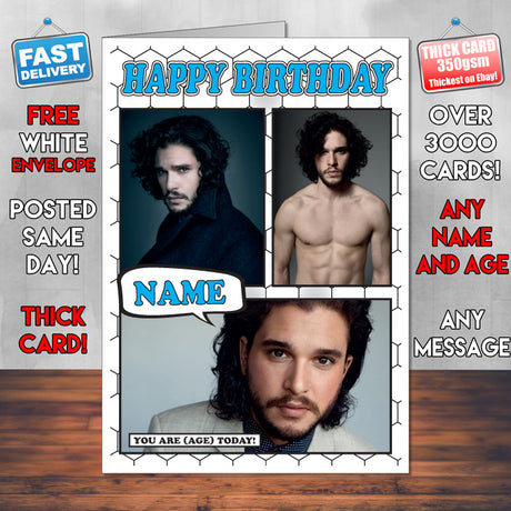 Kit Harington Personalised Celebrity Birthday Card New 2017