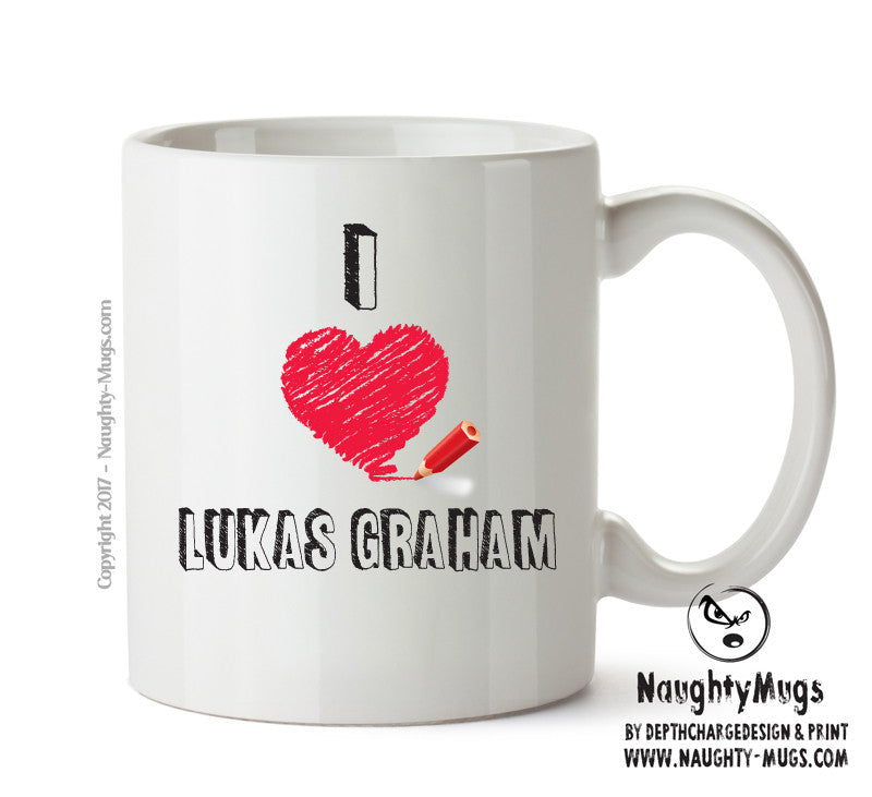I Love LUKAS GRAHAM Celebrity Mug Gift Office Mug Funny Humour