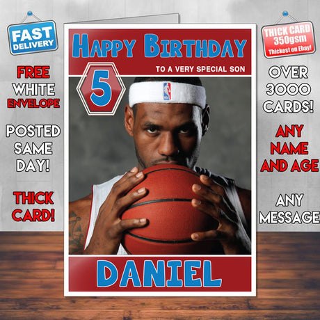 Lebron James American Basketball Theme Inspired Kids Inspired Adult Personalised Sports Birthday Card (SA)