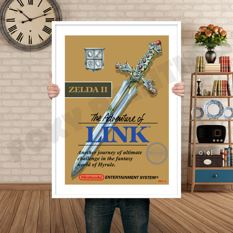 Legend Of Zelda Adventure Of Link Retro GAME INSPIRED THEME Nintendo NES  Gaming A4 A3 A2 Or A1 Poster Art 658