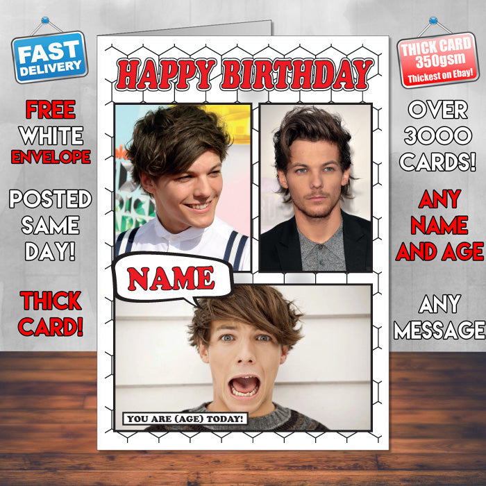 Louis Tomlinson Personalised Celebrity Birthday Card New 2017