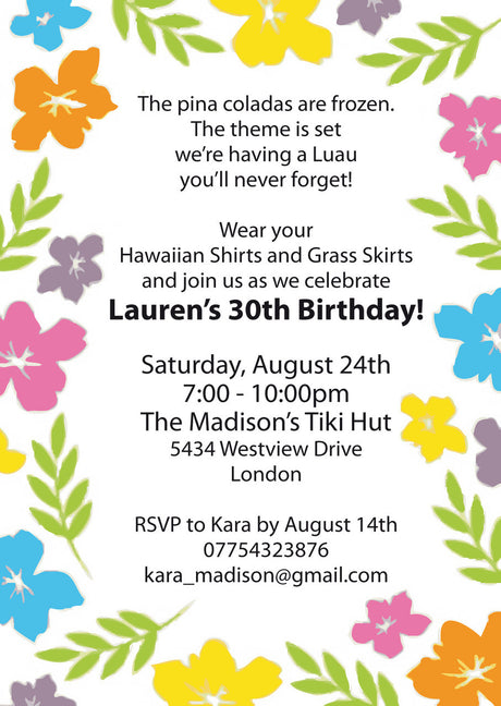 10 X Personalised Printed Luau Party INSPIRED STYLE Invites