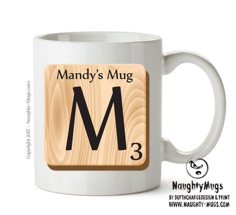 "Initial ""M"" Your Name Scrabble Mug FUNNY Gift Office Mug Funny Humour"