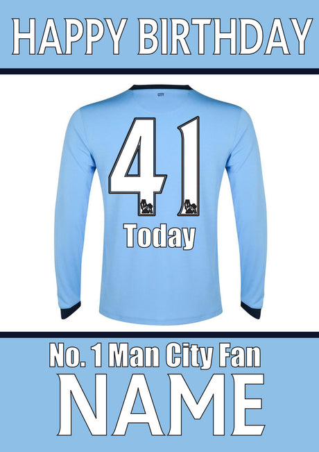 Manchester City Fan FOOTBALL TEAM THEME INSPIRED PERSONALISED Kids Adult Birthday Card