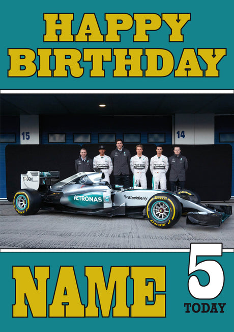 Personalised Mercedes F1 THEME INSPIRED PERSONALISED Kids Adult Birthday Card