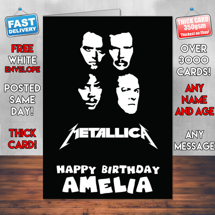 Metallica 2 Personalised Music Style Kids Adult FUNNY Birthday Card