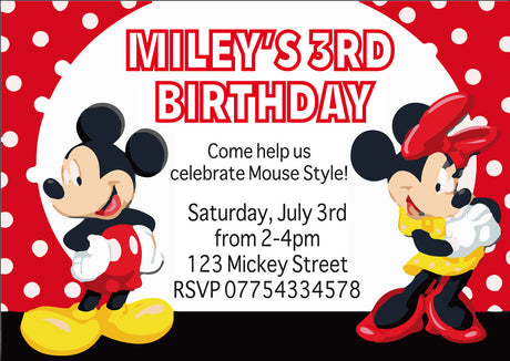 10 X Personalised Printed Girls Mickey Mouse 2 INSPIRED STYLE Invites
