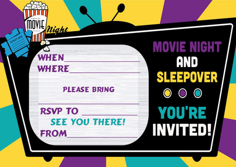 10 X Personalised Printed Movie Night & Sleepover INSPIRED STYLE Invites