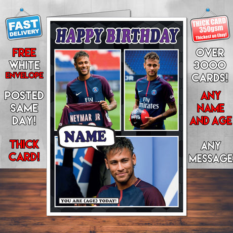 Neymar Jr. PSG Birthday Inspired Style Personalised Football Card New 2017
