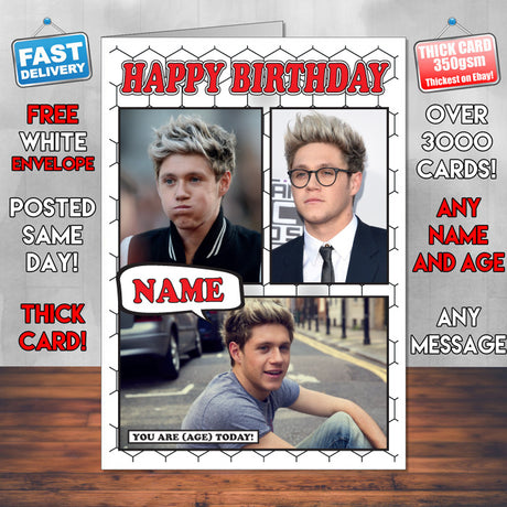 Niall Horan Personalised Celebrity Birthday Card New 2017
