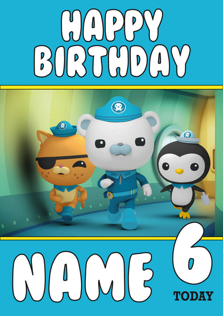 THEME INSPIRED Kids Adult Personalised Birthday Card Octonauts Birthday Card 3