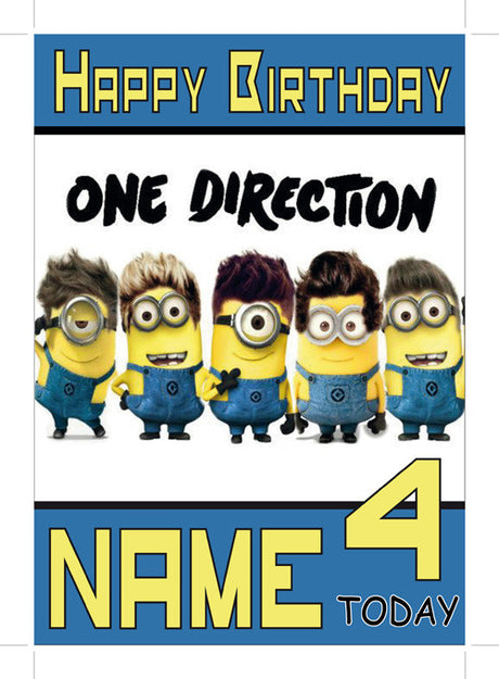 Shop all tagged quotkids cardsquot page 2 foxy printing one direction minions theme inspired kids adult personalised birthday card birthday card bookmarktalkfo Gallery