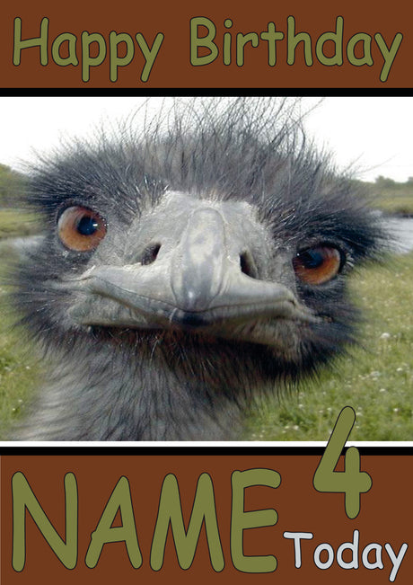 Ostrich Selfie Funny Kids Adult Personalised Birthday Card Gift Present