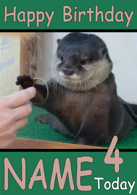 Otter Holding Finger Funny Kids Adult Personalised Birthday Card Gift Present