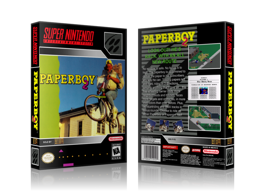 Paperboy 2 Replacement SNES REPLACEMENT Game Case Or Cover