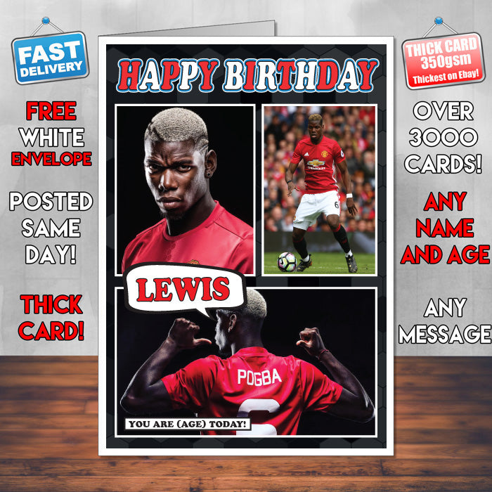 Paul Pogba Man U Inspired Style Personalised Football Card New 2017