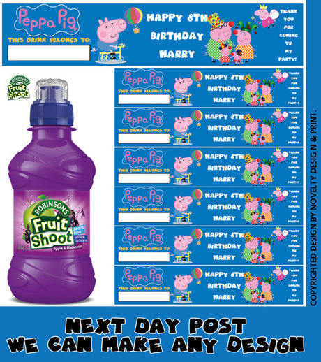 6 Green Football Birthday Party Personalised Fruit Shoot Bottle Wrappers