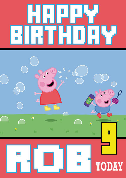 Peppa Pig Bubbles Theme Inspired Kids Adult Personalised Birthday