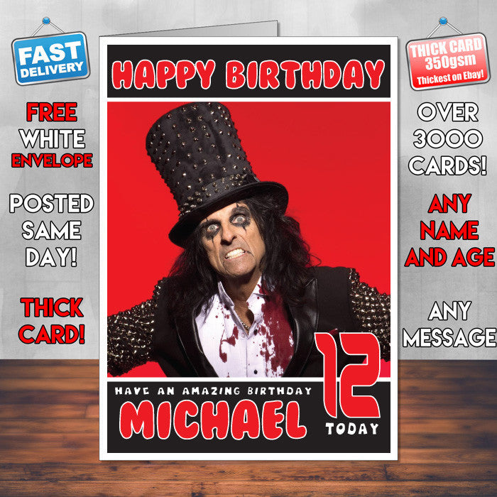 Personalised Alice Cooper 2 Inspired Theme Music Birthday Card Sa