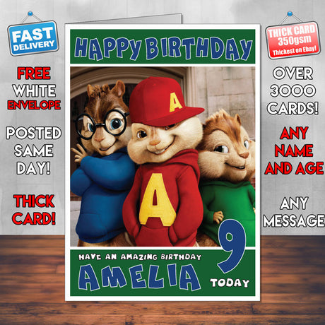 Personalised Alvin And The Chipmunks 2 Style Inspired Cartoon Birthday Card (SA)