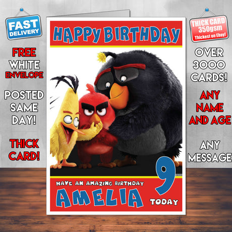 Personalised Angry Birds Style Inspired Cartoon Birthday Card (SA)