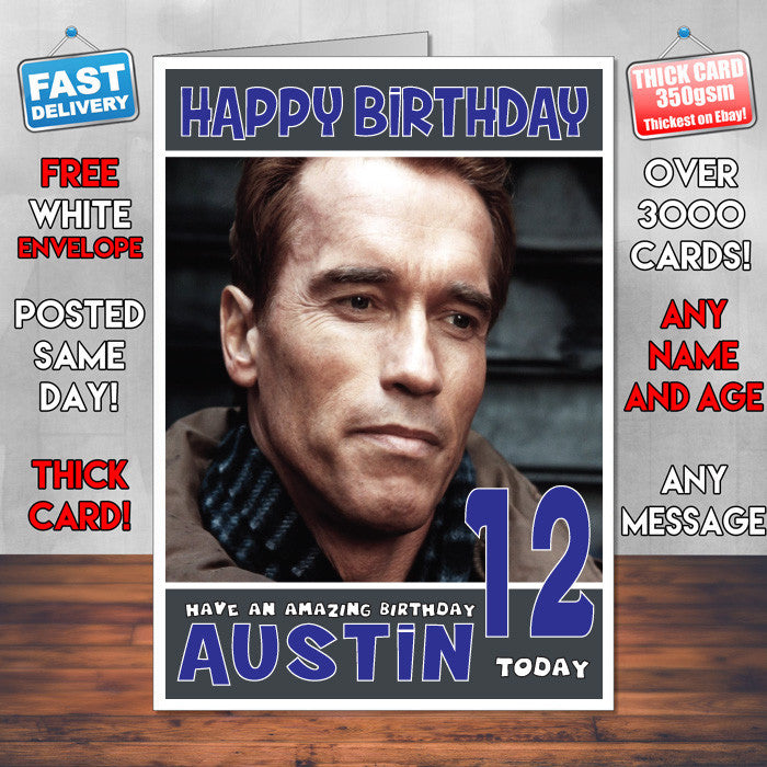 Personalised arnold schwarzenegger inspired theme celebrity birthday personalised arnold schwarzenegger inspired theme celebrity birthday card sa bookmarktalkfo Image collections