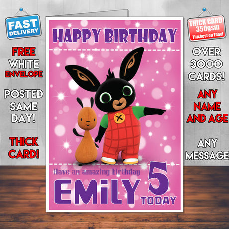 Personalised Bing 7 Style Theme Personalised Kidshows Birthday Card (SA)