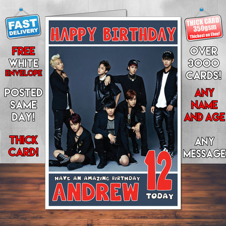 Personalised Bts 2 INSPIRED THEME Music Birthday Card (SA)