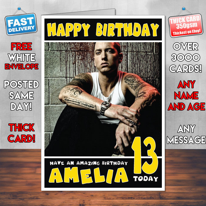 Personalised Eminem 1 Celebrity Inspired Style Birthday Card SA – Eminem Birthday Card