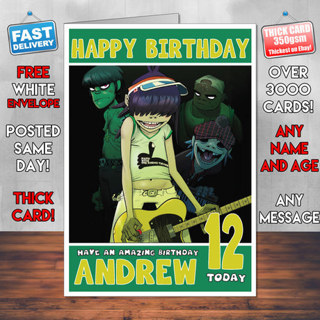 Personalised Gorillaz INSPIRED THEME Music Birthday Card (SA)